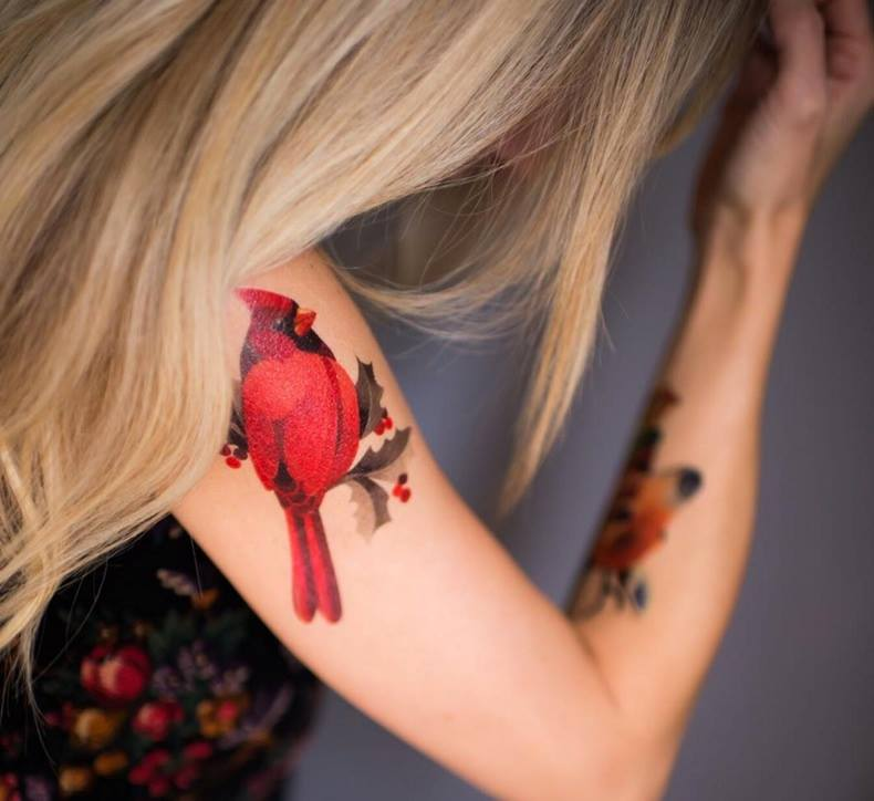 Watercolor Cardinal Tattoo: Colorful Geometric Giraffe Head Tattoo On Forearm By Sasha