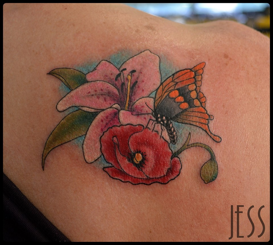 Color Flowers And Butterfly Tattoo On Right Back Shoulder by Jess ...