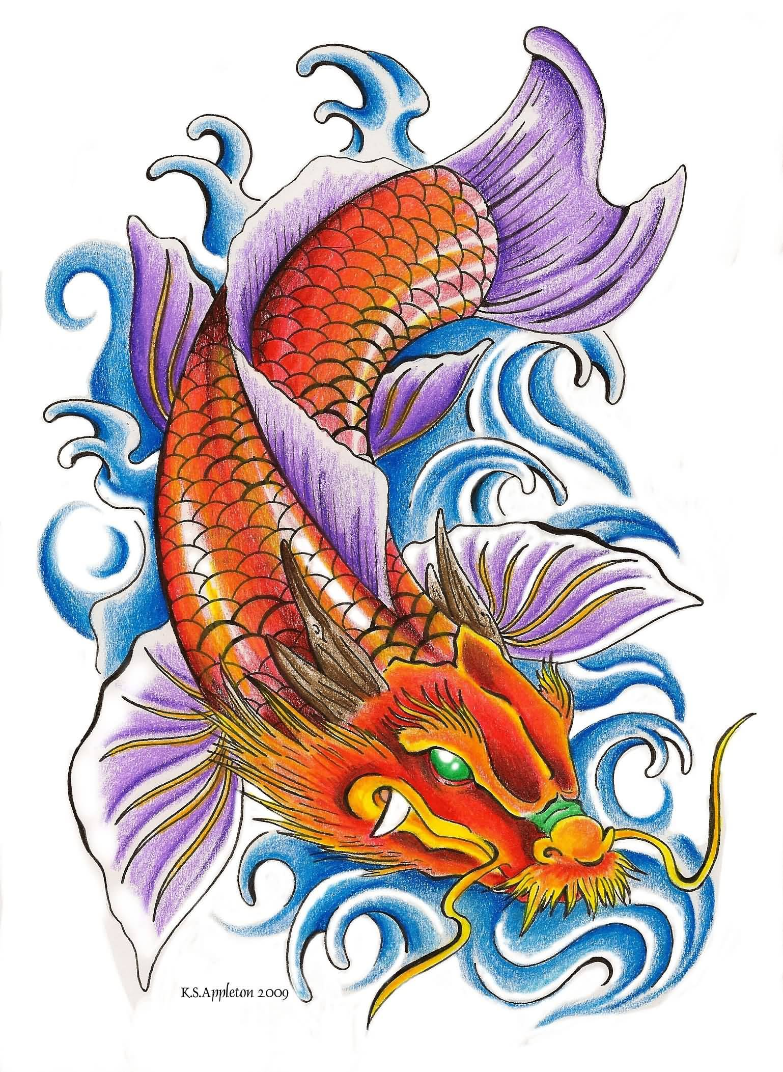 24 Latest Dragon Fish Tattoo Designs