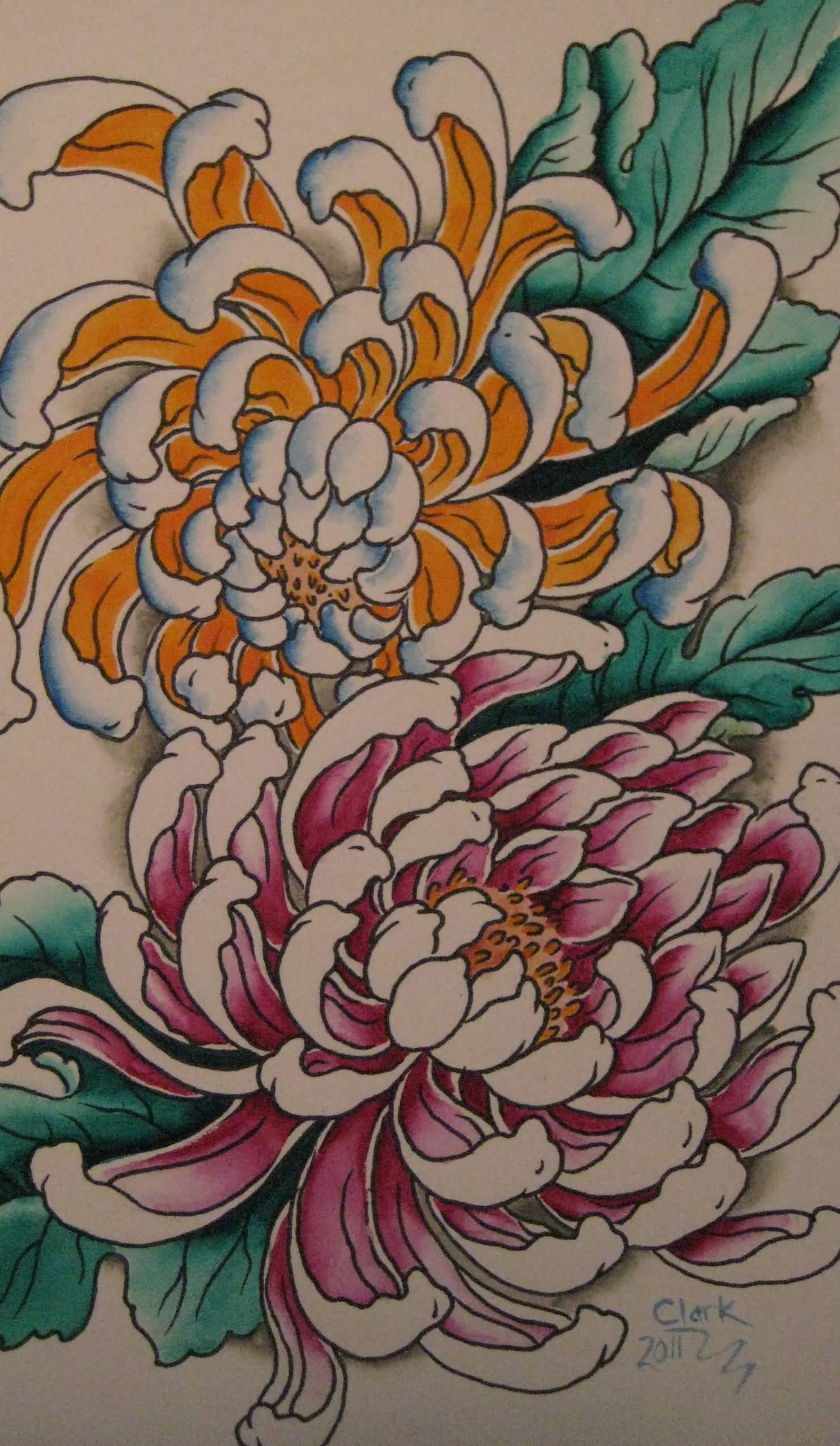 Chrysanthemum tattoos askideas colored chrysanthemum flowers tattoo design amipublicfo Image collections