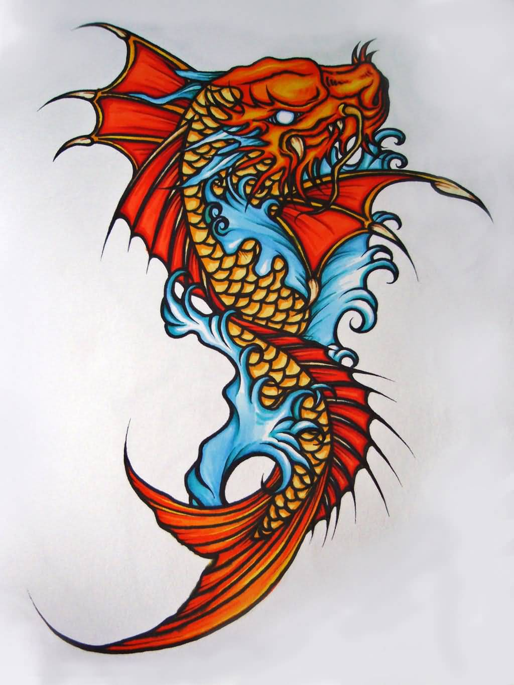 24 latest dragon fish tattoo designs for Dragon fish tattoo
