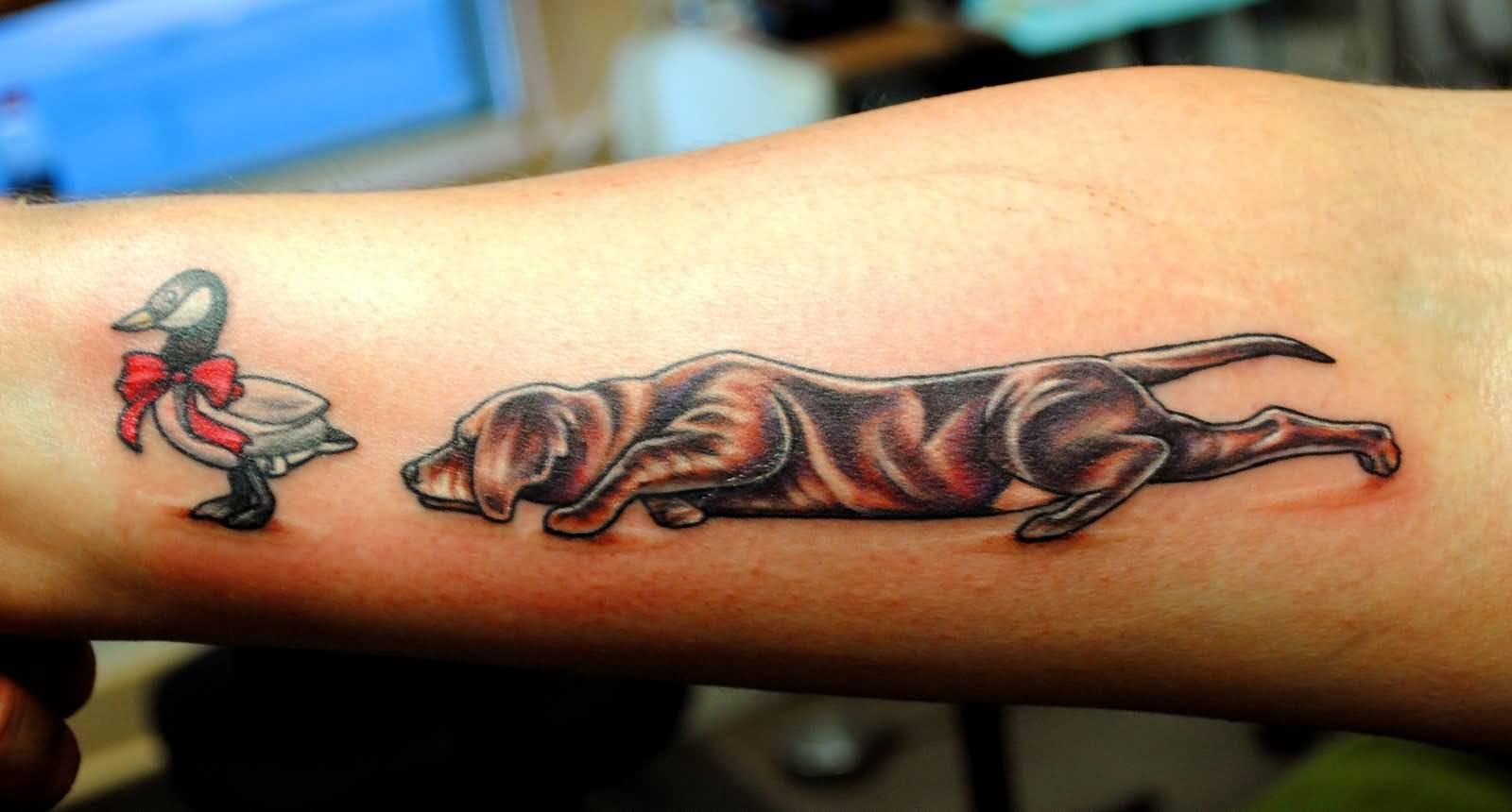 dog hunting duck tattoo on forearm. Black Bedroom Furniture Sets. Home Design Ideas