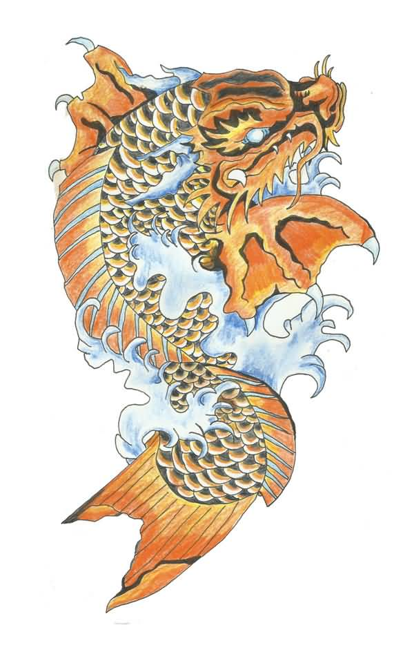 Dragon fish tattoo design sample for Dragon fish tattoo