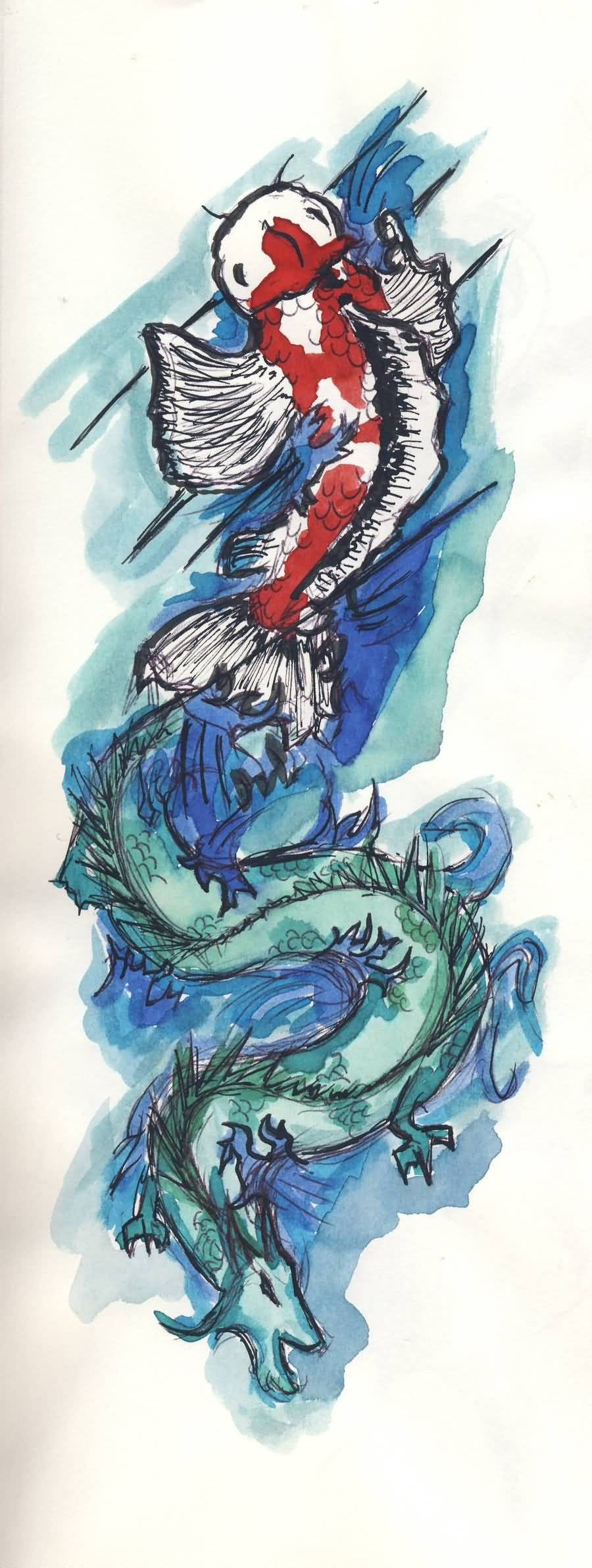 Blue dragon fish tattoo design sample for Dragon fish tattoo