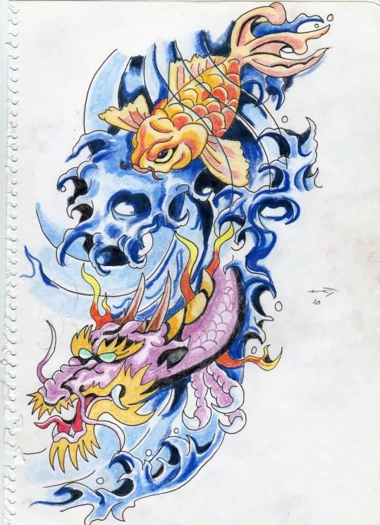 24+ Latest Dragon Fish Tattoo DesignsKoi Fish Dragon Tattoo Designs