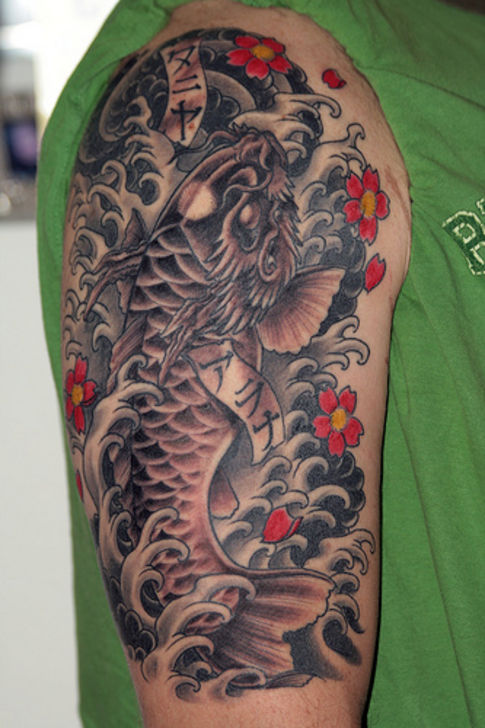 22 japanese dragon fish tattoos. Black Bedroom Furniture Sets. Home Design Ideas