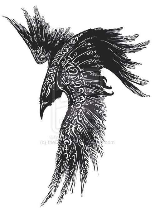 Flying celtic raven tattoo design for Celtic skull tattoo