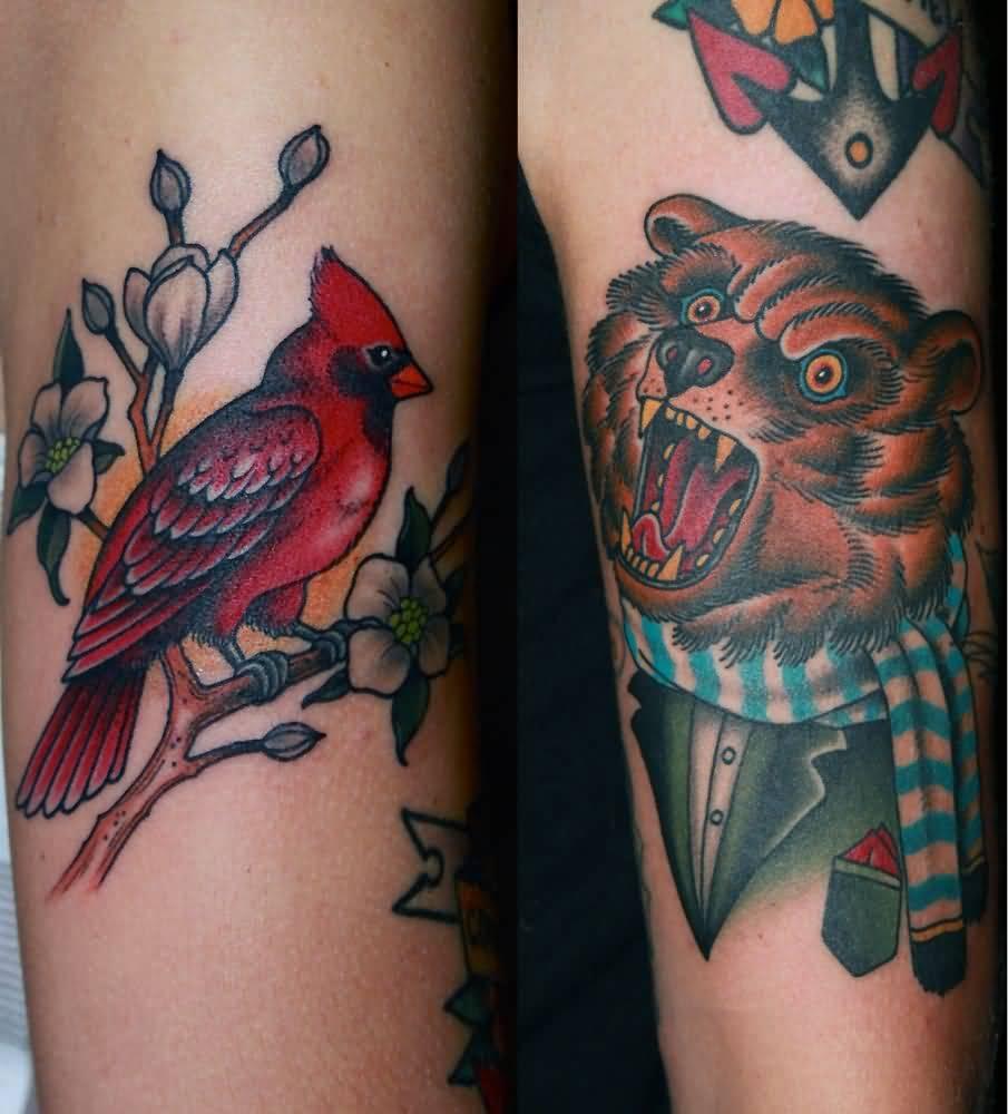 Red ink small cardinal bird tattoo for Small cardinal tattoo