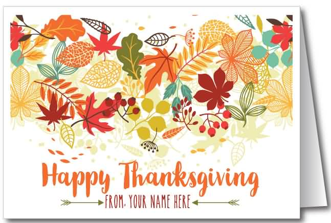 55 most beautiful thanksgiving day greeting card pictures happy thanksgiving autumn leaves on greeting card m4hsunfo Choice Image