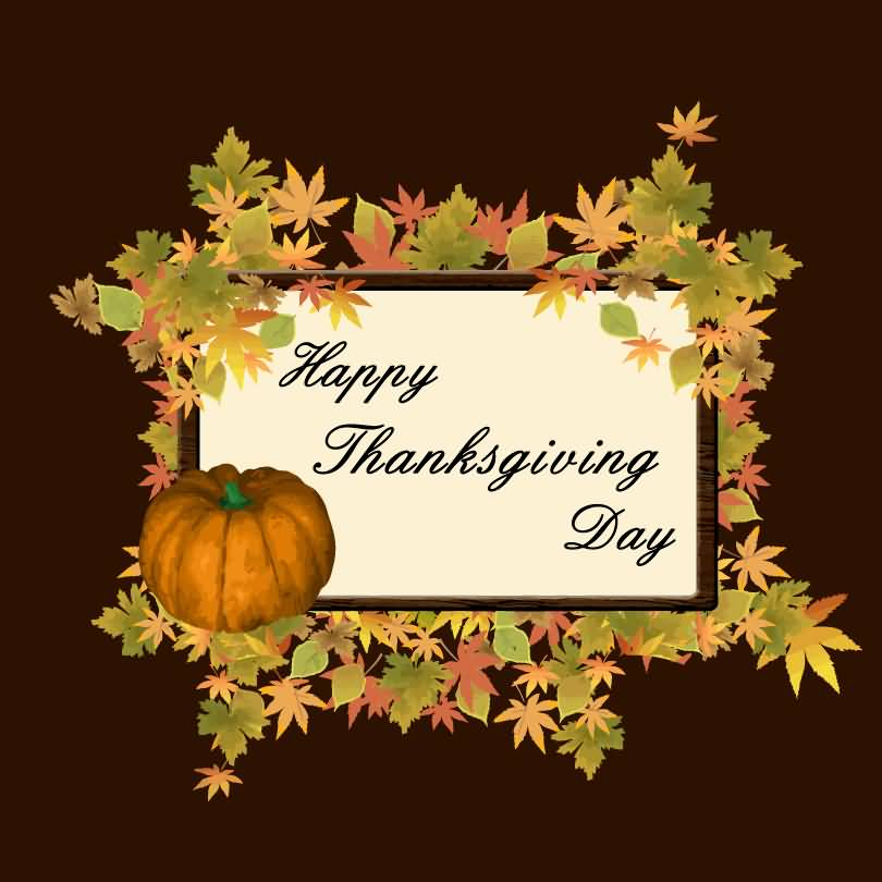 Happy Thanksgiving Day 2016 Autumn Leaves Frame And Pumpkin Picture