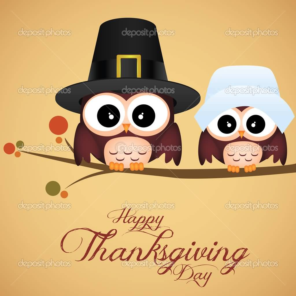 Happy Thanksgiving Day Owls With Hats Picture