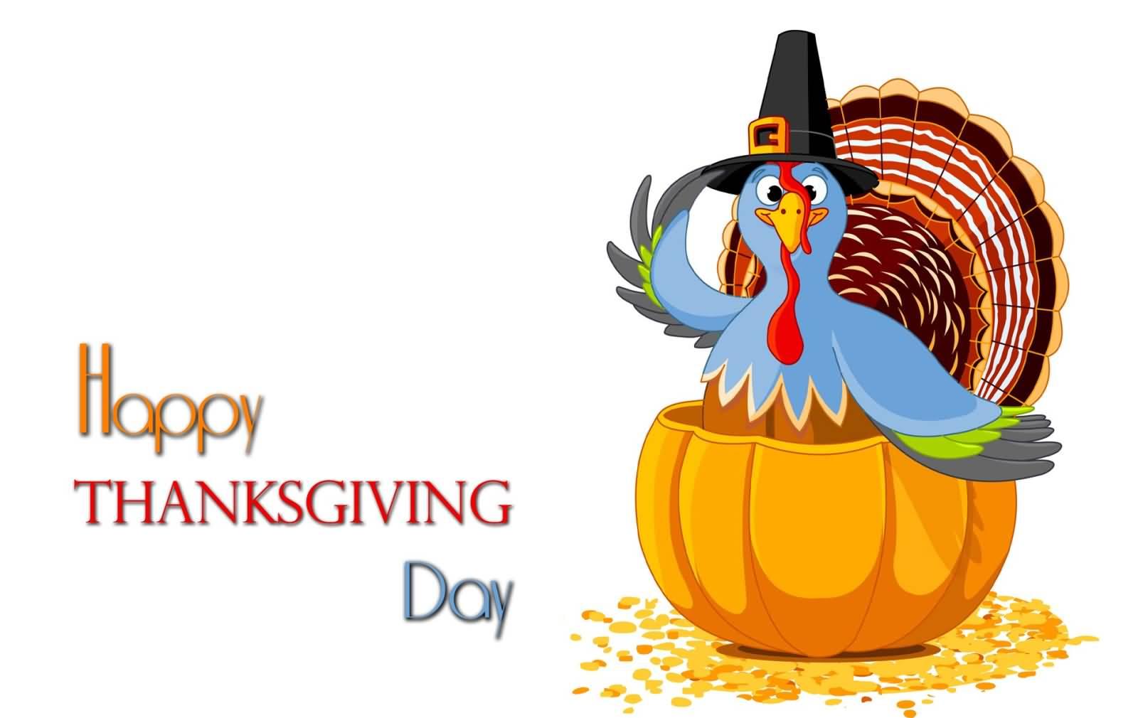 Happy Thanksgiving Day Turkey In Pumpkin Picture