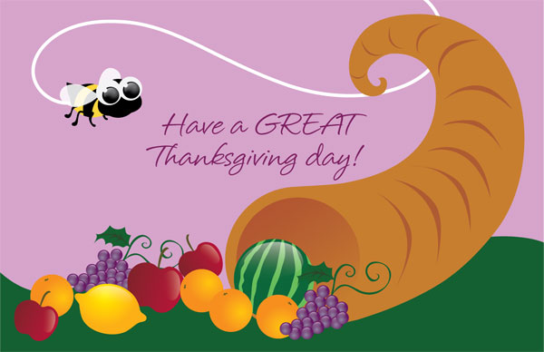 Have A Great Thanksgiving Day Fruits And Bee Illustration