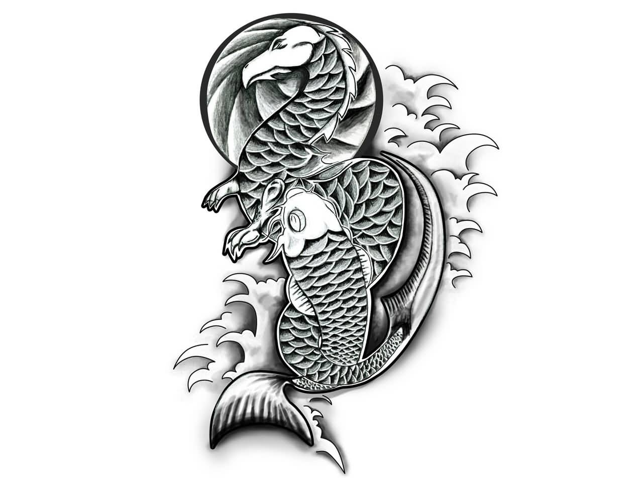 24 latest dragon fish tattoo designs. Black Bedroom Furniture Sets. Home Design Ideas