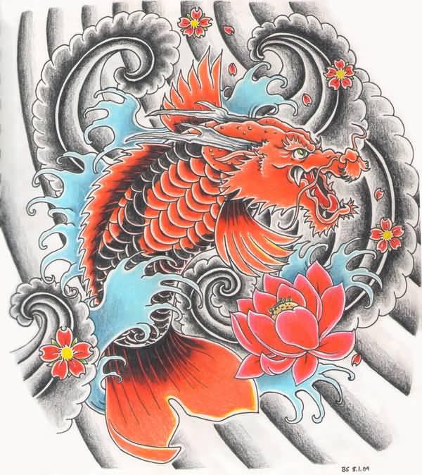 24 latest dragon fish tattoo designs for Japanese koi dragon