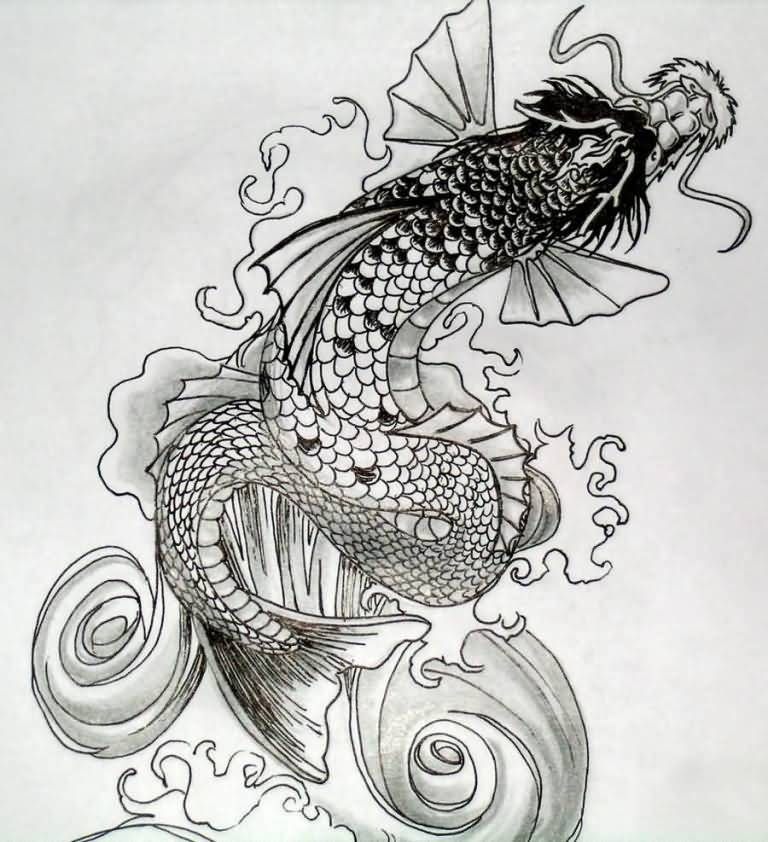 24 latest dragon fish tattoo designs for Black dragon koi
