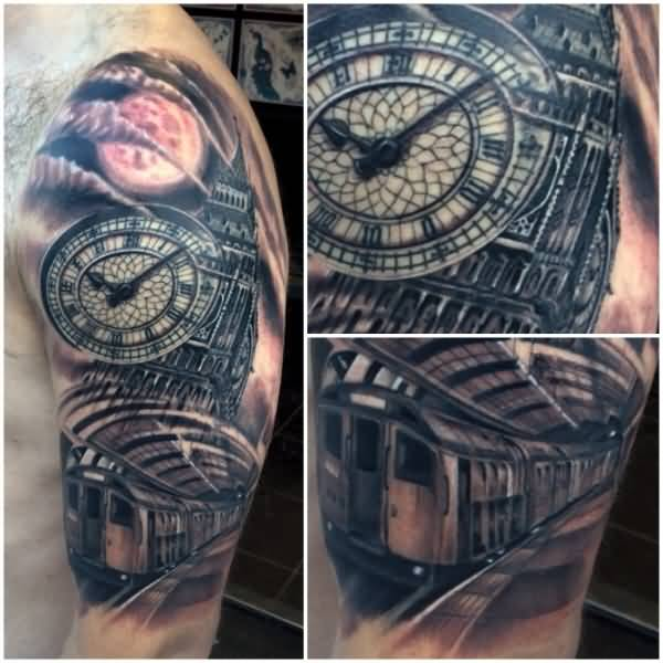 20 awesome big ben sleeve tattoos. Black Bedroom Furniture Sets. Home Design Ideas