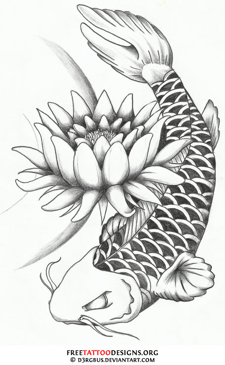 Lotus flower and dragon koi fish tattoo design for Black dragon koi