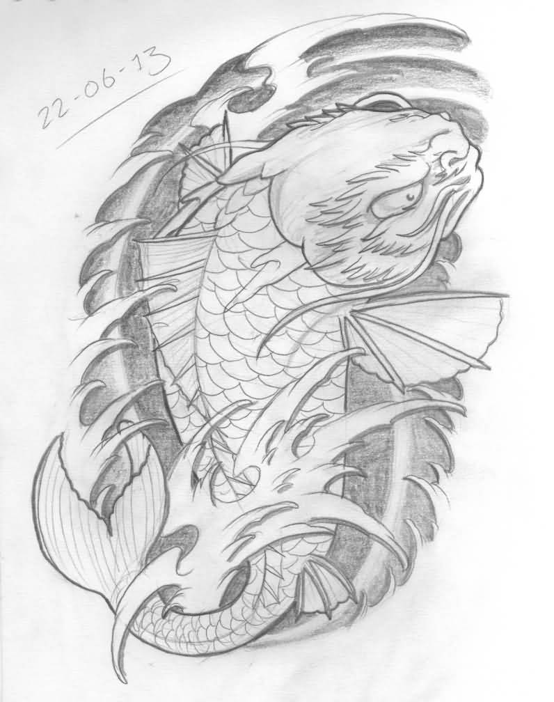 Koi fish dragon tattoo designs black and white for Black dragon koi