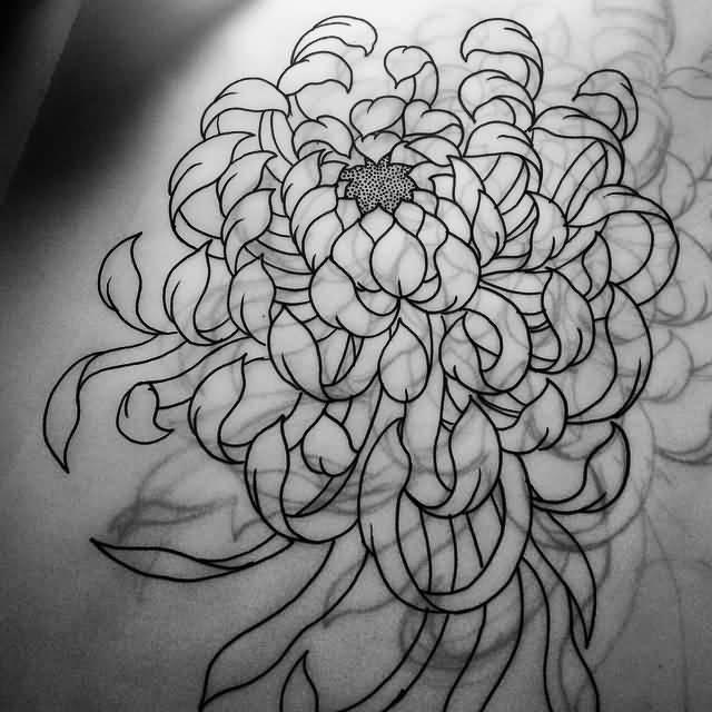 a5cac61c32858 Outline Chrysanthemum Tattoo Design Sample