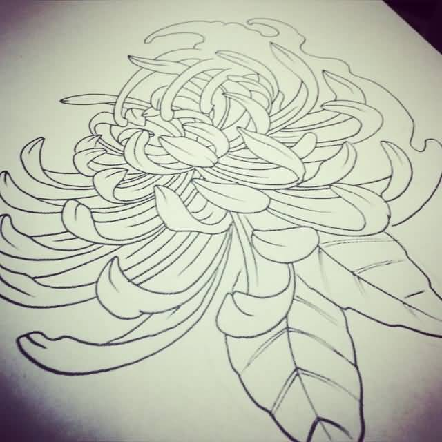 Dotwork Chrysanthemum Tattoo Design