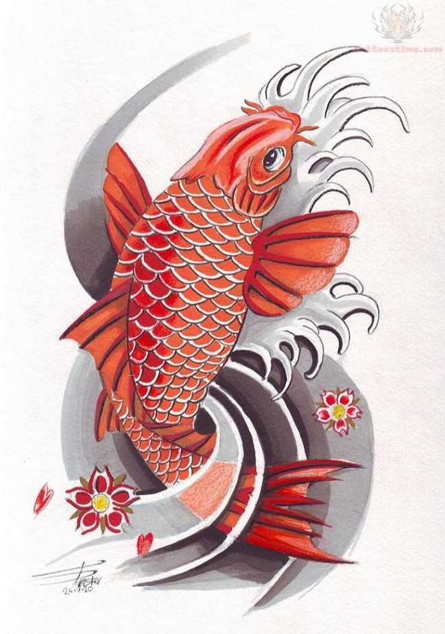 Red dragon fish tattoo design for Carpa koi butterfly