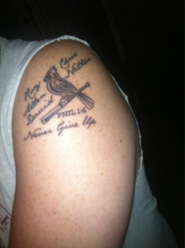 12 famous cardinal tattoos on shoulder for Small cardinal tattoo