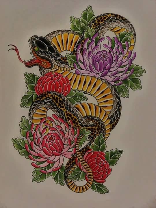 ad48840c05baf Snake And Chrysanthemum Tattoo Design
