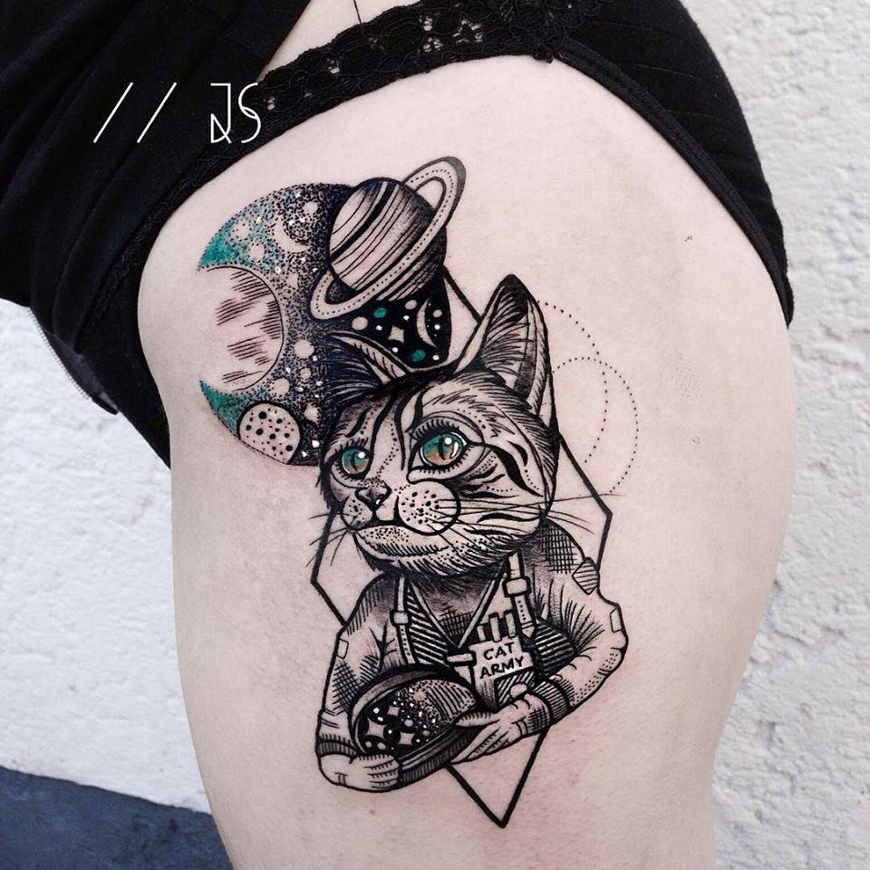 space cat tattoo on side thigh by jessica svartvit. Black Bedroom Furniture Sets. Home Design Ideas