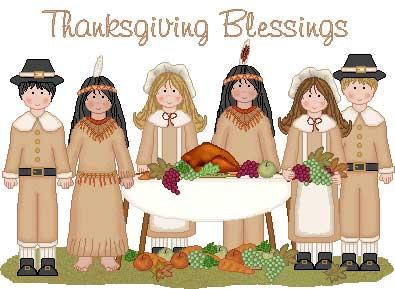 Thanksgiving Blessings Family Illustration