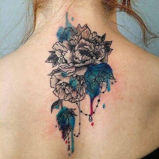 51e64e897 Watercolor Chrysanthemum Tattoo On Girl Upper Back