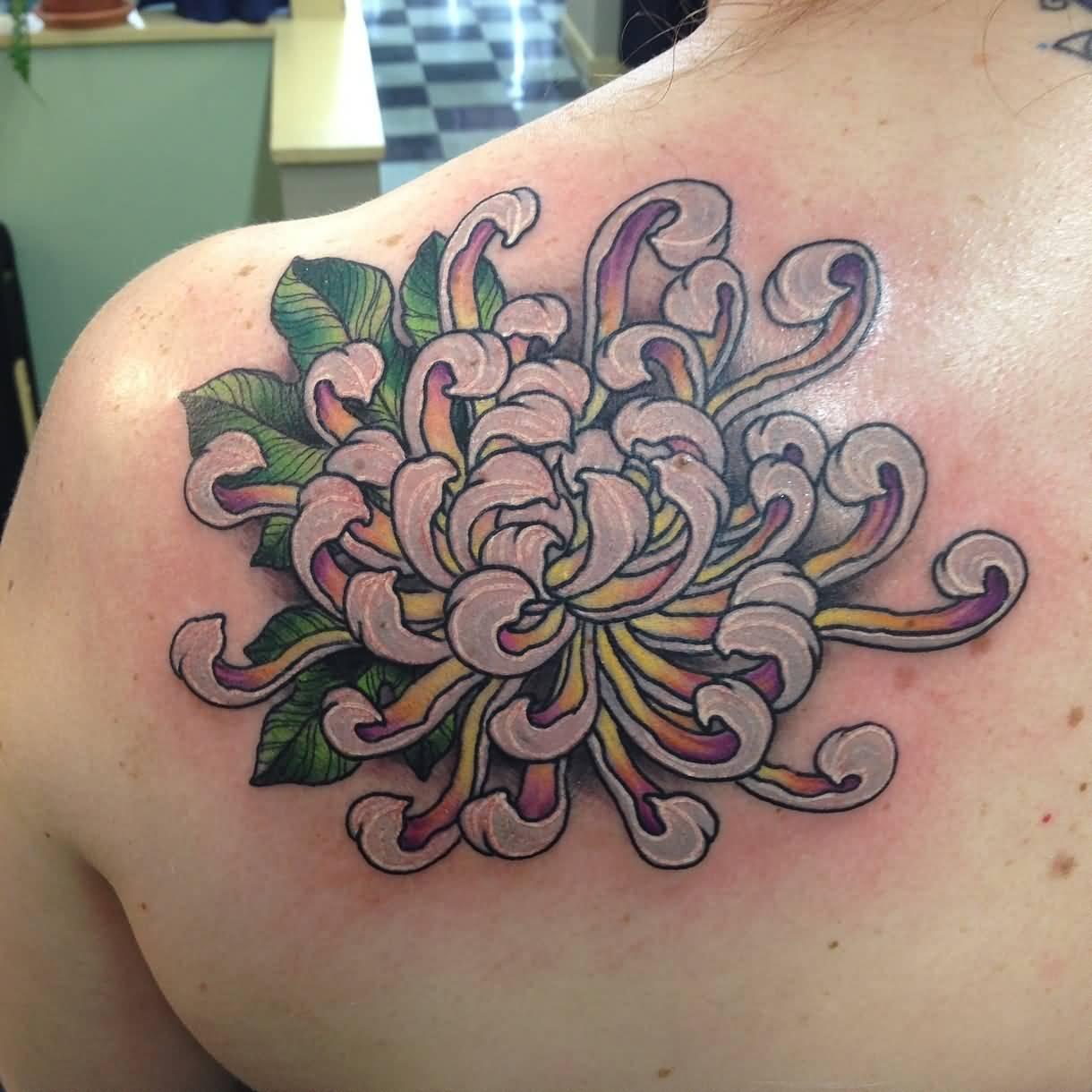 9 chrysanthemum tattoos on back shoulder. Black Bedroom Furniture Sets. Home Design Ideas