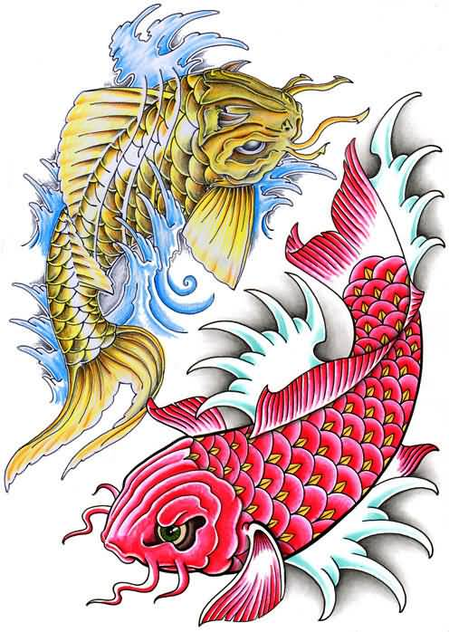 yellow and red dragon fish tattoos designs. Black Bedroom Furniture Sets. Home Design Ideas