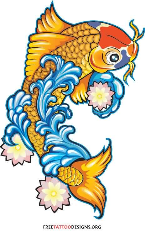 24 latest dragon fish tattoo designs for Koi fish designs