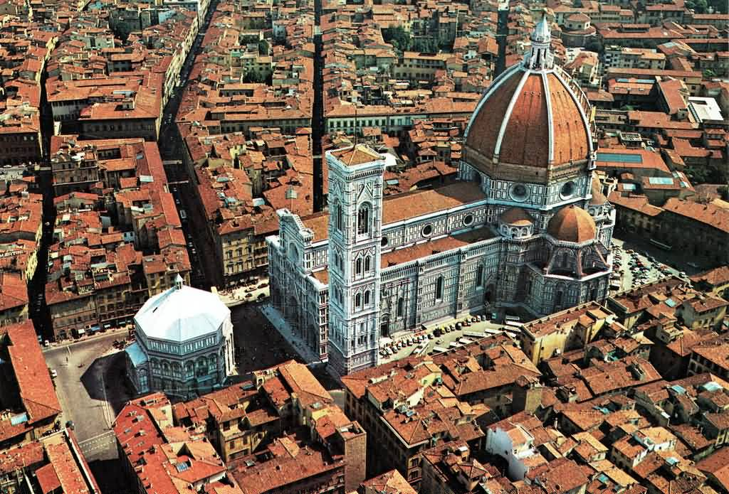 Aerial View Image Of The Florence Cathedral And Florence City
