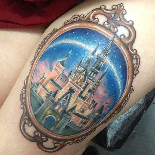 disney princess tattoo on left thigh by alexis kovacs. Black Bedroom Furniture Sets. Home Design Ideas