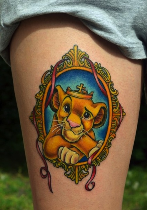 disney king lion in mirror frame tattoo on thigh. Black Bedroom Furniture Sets. Home Design Ideas