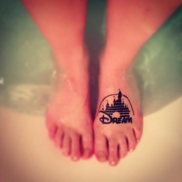 dream disney castle tattoo on left foot. Black Bedroom Furniture Sets. Home Design Ideas