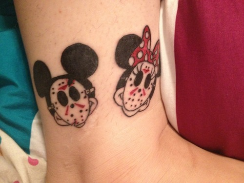 Jason Masks And Disney Mickey And Minnie Tattoos On Leg
