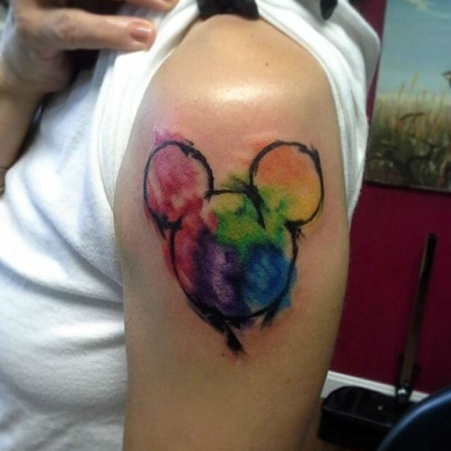 watercolor mickey mouse head disney tattoo on left shoulder. Black Bedroom Furniture Sets. Home Design Ideas