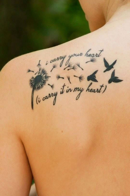 1b0c6cc590fb4 Amazing Blowing Birds From Dandelion With Quote Tattoo On Shoulder For Men