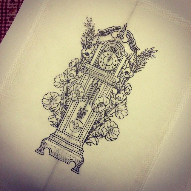grandfather clock face tattoo. amazing flowers and grandfather clock tattoo design face o