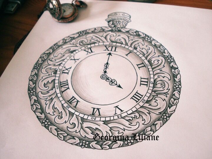 Awesome Clock Tattoo Design Sample