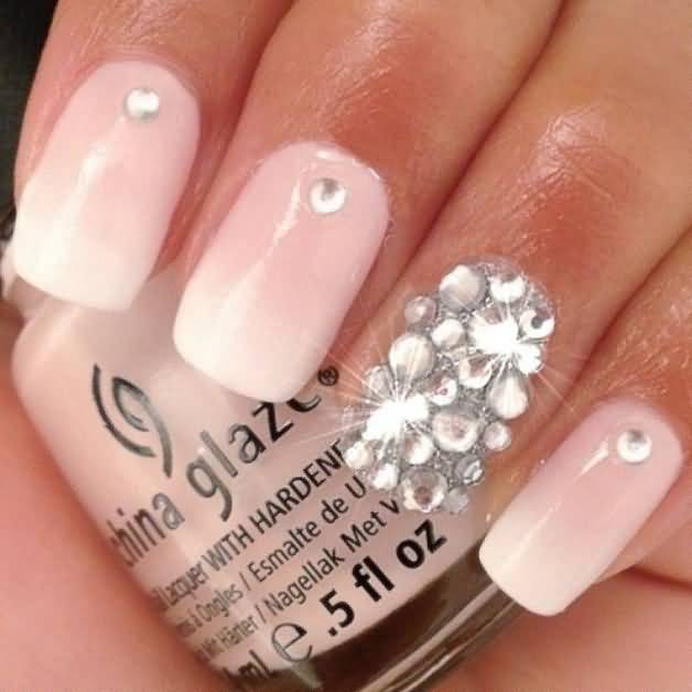 40+ Adorable Rhinestones Accent Nail Art Ideas