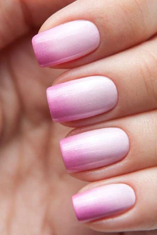 Baby Pink Ombre Nail Art Design Picture