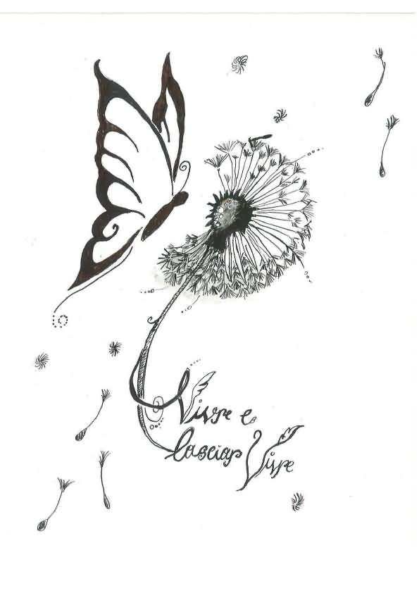 Dandelion Butterfly Tattoo Designs