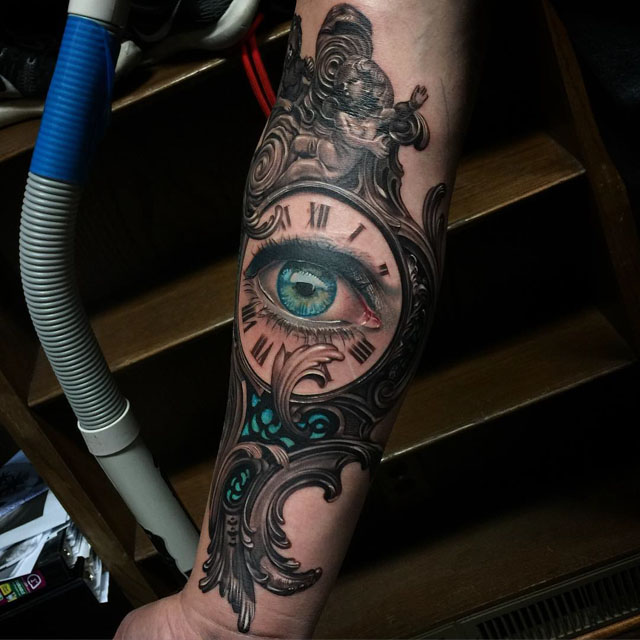 beautiful eye clock in mirror frame tattoo on forearm. Black Bedroom Furniture Sets. Home Design Ideas