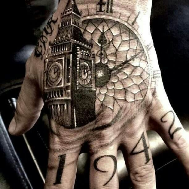 grandfather clock face tattoo. big ben clock tattoo on left hand grandfather face