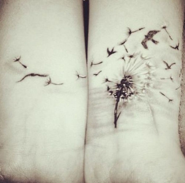 edf8df8d81eb1 Birds Blowing From Dandelion Tattoo On Both Wrists