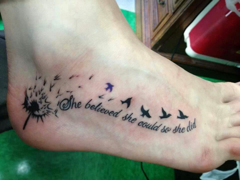 Foot Tattoo Ideas Quotes: 37+ Cool Dandelion Tattoo Ideas For Foot